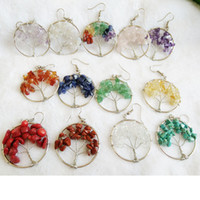 12 Styles Femmes Wire Wrap Gemstone Crystal Quartz Chip Bead Tree Of Life Boucles d'oreilles Crochet FBA Drop Shipping B165S