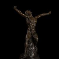 zusammenfassung nackten mann kunst großhandel-Kunsthandwerk Kupfer Moderne Abstrakte Kunst Bronze Skulptur Nackte Mann Körper Kunst Statue Wut Figur Art-Studio Dekoration Einrichtung A