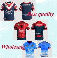 Wholesale Spider Man Top - 1718 Thai quality Sydney Roosters rugby jerseys men 9S rugby shirts Spider Man jerseys home jerseys top quality Roosters shirts size S-3XL