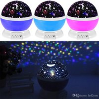 Wholesale new moon bedding resale online - Newest Romantic New Rotating Star Moon Sky Rotation Night Projector Light Lamp Projection with high quality Kids Bed Lamp