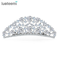 Black accessories jewelry store - Jewelry Store New Arrival Luxury High Quality Princess Crown CZ White Gold Color Bridal Hair Accessories for Women Wedding LUOTEEMI