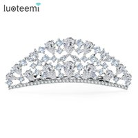 Wholesale Wedding Crown Color - Jewelry Store New Arrival Luxury High Quality Princess Crown CZ White-Gold Color Bridal Hair Accessories for Women Wedding LUOTEEMI