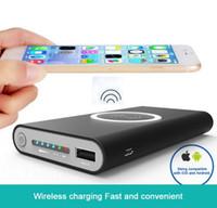 iphone movil оптовых-Горячая продажа Ци 10000 мАч беспроводной зарядки базовый Power Bank Тип c Micro USB вход cargador movil powerbank для iphone 7s x Samsung s7