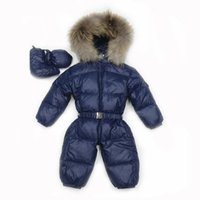 Wholesale Winter Snowsuits For Babies - Baby Snowsuits Down Jacket For Boys Girls Jumpsuit Russia Winter Clothing Warm Coats Snow Wear Kids Clothes Infantil Rompers