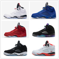 Wholesale Bel Sports - 5s Classic 5 white cement red blue suede black metallic camo Oreo fire red bel air Basketball Sports Shoes sneakers for men women