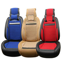 Wholesale Blue Leather Seats - 5 seats Car Seat Cushion Full Set General Breathable Wearable Leather Linen Material Multiple Colour 360 Degree All-inclusive