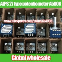 Vente en gros- 1pcs ALPS 27 type double potentiomètre A500K 25MM / ronde gère le potentiomètre de volume