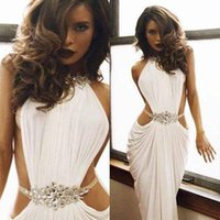 2018 High Neck White Pleats Ärmellos Sexy Backless Abendkleider Michael Korns Rhinestone Prom Party Formal Robe de Soiree