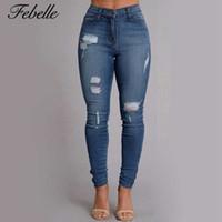 Wholesale Wholesale Capris Jeans - Wholesale- Febelle Blue Knee Hole Pants Mid Waist Women Denim Jeans Elastic Skinny Capris Denim Pants Ankle Zipper Decorate #90891