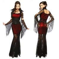 Wholesale Woman Vampire Sexy Costume - Gothic Sexy Costume Halloween Dress Costume Sexy Witch Vampire Costume Women Masquerade Party Cosplay Clothing Set