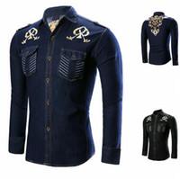 ingrosso blu camicia casuale mens blu-Camicia uomo moda maniche lunghe Top nero blu cuciture modello Camicia da uomo Camicie da uomo Camicia da uomo slim