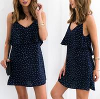 Wholesale Vintage Ruffle Summer Dress - Ruffles Chiffon Polka Dot Summer Beach Party Dresses Vintage Soft Black Backless Short Dress Women Causal Dresses Vestidos FS1918
