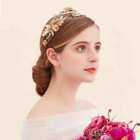 Wholesale Hair Accessories Dragonfly - Crystal Bridal Wedding Golden Dragonfly Hoop Crown 2018 Romantic Flower Shaped Bridal Tiaras Handmade Bridal Hair band Accessories