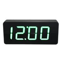 Wholesale Thermometer Digital Mirror - Wholesale-Acrylic Mirror Wooden Digital LED Alarm Desk Clock Time Calendar Thermometer White Red Green Blue