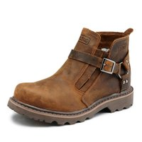 Wholesale British Matches - British Style Belt Buckle Round Toe Brown Cowhide Leather Flat Boots For Women All Match Retro Z.suo Brand Design Man Boots