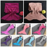 Wholesale Mermaids Tails - 180*90cm Mermaid Tail Mermaid Tail Adult Sofa Knit Blanket Quilt Rug Cocoon Sleeping Sack Tail Blankets 13 color KKA3007