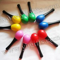Wholesale Toy Maracas Plastic - Wholesale- 20PCS 10pair Lot,Baby maracas,Plastic toys,Baby rattle,New baby toys,Music toys.Mixed color,13x3.8cm,Free shipping.Wholesale.