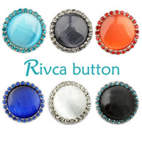 Wholesale crystal snake rings - D01700 Rivca Snap Button charms Jewelry High quality crystal 18mm Metal Noosa chunk Rhinestone Styles Ginger Snaps Bracelets For Women