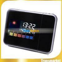 Wholesale Multi Desk Clock - Projection Multi-function Alarm Clock Weather Digital Projection Clock Alarm Color Screen Calendar Desk Clocks