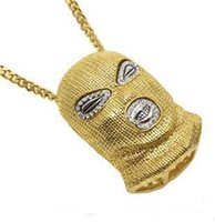 Wholesale silver mask charms - 2017 hot new Hip Hop CSGO Pendant Necklace Mens Punk Style 18K Alloy Gold Silver Plated Mask Head Charm Pendant High Quality Cuban Chain