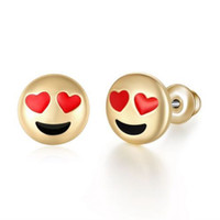 10 Designs Girls Cute Emoji Stud Earrings para mulheres Lovely Cartoon Gold Plated Earrings Studs Presentes de festa de aniversário