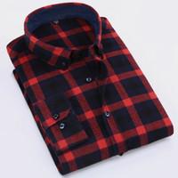 algodón cepillado para hombres al por mayor-Al por mayor-primavera 2017 de los hombres ocasionales Slim-fit Check-down camisa estampada camisas Comfort Soft algodón manga larga cepillada camisa de tela escocesa de franela