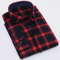 непринужденный комфорт оптовых-Wholesale- Spring 2017 Men's Casual Slim-fit Button-down Check Patterned Shirts Comfort Soft Cotton Long Sleeve Brushed Flannel Plaid Shirt