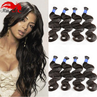 Wholesale Single Human Hair Extensions - 7A Great Bdoy Wave 100% Single Drawn Brazilian Human Hair Bulk Body Wave Human Hair Extensions Bulk Hair