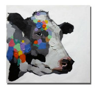 Wholesale Life Size Cows - Colorful Cow,Pure Hand Painted Abstract Modern Wall Decor Cartoon Animal Art Oil Painting High Quality Canvas.Multi sizes C044