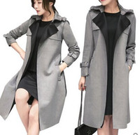 Wholesale Long Mink Coats Sale - New Arrival Hot Sale Fashion Noble Female Spring Korean High Quality Imported Outfit Faux Suede Grey Mink Fur Deer Velvet Long Trench Coat