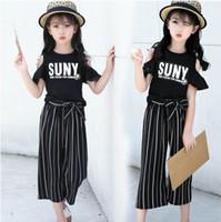 Wholesale Girls Legging Stripes - Summer Girls Clothing Sets Black White Letters Off The Shoulder T-Shirts+Chiffon Stripe Wide Leg Pants Fashion Outfits JG001