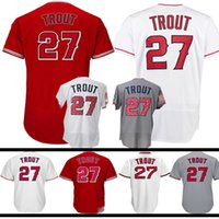 uomo # 27 Mike Trout Jersey COOL Base Flex Base Stars Bianco Red Embroidery Logos Baseball Jreseys