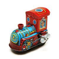 löst spielzeug großhandel-Retro Dampf Zug Reminiscence Kinder Vintage Wind Up Blechspielzeug Clockwork Frühling Lokomotive Klassisches Spielzeug Für Kinder Baby Kinder