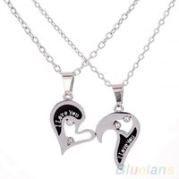 Wholesale Heart Shape Couple Necklace - Wholesale-Men's Women's Lover Couple I Love You Alloy Rhinestone Heart Shape Pendant Choker Chain Necklace 1P1N