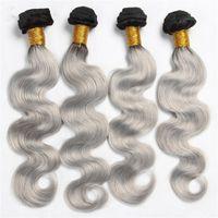 12 inç ombre saç uzantıları toptan satış-Gümüş Gri Ombre Hint Vücut Dalga Saç Uzantıları # 1B Gri Iki Ton Ombre Saç Demetleri 4 Adet lot Vücut Dalga Saç Örgü