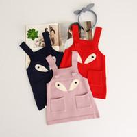 Wholesale Wool Clothing For Babies - Baby Girls Knit Cartoon Dresses Girls Knitting Suspender Dress Kids Girl Autumn Clothing 2017 clothing for kids
