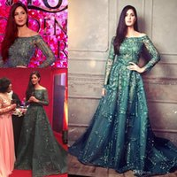 Wholesale Emerald Green Evening Dresses Short - Ziad Nakad Emerald Crystal Beaded Evening Pageant Dresses 2017 Modest Illusion Long Sleeve Arabic Dubai Prom Gowns Zuhair Murad