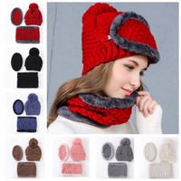 Wholesale Neckerchiefs For Men - Winter Hats Women Mask Thicker Knitted Girls Neckerchief Warm Caps For Women Men Christmas Gifts Hats Top Quality 3pcs Set KKA3193