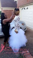 Wholesale Evening Dresses For Celebrities - Black Girl 2K17 White Lace Prom Evening Dresses Mermaid Jewel Illusion Bodice Long Sleeves Tutu skirt Formal Celebrity Gowns for Party