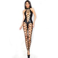 Wholesale New Sexy Bodystocking - New Arrival Sexy Erotic Nightwear Bodystocking Fuax Leather Clubwear Underwear for Women Fishnet Lingerie Full Body Stocking