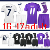 Wholesale Sleeve Flash - Thailand quality 2016-17 Real Madrid Ronaldo Benzema Short sleeve shirt Coat + pants+socks kit Macedo Luozhanmusi football Jersey shirt