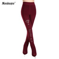 Wholesale Girls Figure Skating - Wholesale- 5 Colors Child Ice Figure Skating Pantyhose Stockings Shoes Cover Rhinestone Pantynose Pants Warm Thick Fleece Ice Skate