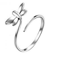 anéis de prata libélulas venda por atacado-925 Banhado A Prata Anéis Luxuosos Moda Jóias Coreano Banhado A Ouro Branco Anel de Noivado para As Mulheres Overlay Anéis Da Libélula Aberta Tamanho