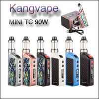 Wholesale Wholesale High End Electronic Cigarettes - Original KANGVAPE KIT High end Carbon fiber TC vaporizer box mod Kit Kangvape mini TC 90w Starter Kit electronic cigarette