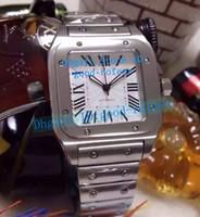 Wholesale vintage square mens watches - Brand New Mens White Dial Automatic XL Dumont Watch Men Stainless Steel Bracelet Vintage Wristwatch