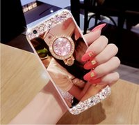 Wholesale Silver Rings Pink Diamonds - High quality Luxury Ring Diamond Mirror Clear Rhinestone Frame back cover phone case for iPhone 5 5S 6 6S 7 Plus Free shipping G0152