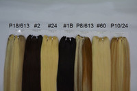 Wholesale 32 Inch Hair Extensions 613 - Straight Hair 100 Human Hair Extensions P27 613 P8 613 P10 24 P18 613 Brazilian Piano Color Body Wave Weave 3pcs lot