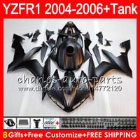 siyah yamaha kiti toptan satış-Mat siyah 8Gift 23 Renk Vücut YAMAHA YZF R 1 YZF 1000 YZFR1 04 05 06 58HM13 YZF-R1000 YZF-R1 YZF1000 YZF R1 2004 2005 2006 Fairing kit
