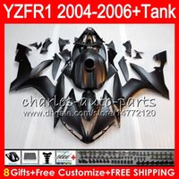 yamaha r1 carenados mate al por mayor-Mate negro 8Gift 23Color cuerpo para YAMAHA YZF R 1 YZF 1000 YZFR1 04 05 06 58HM13 YZF-R1000 YZF-R1 YZF1000 YZF R1 2004 2005 2006 Kit de carenado