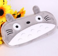 Wholesale Plush Pillow Totoro - 15pcs  Lot Cartoon Totoro Style Cute Cosmetic Bags Plush Zipper Bags Cosmetic Bag Pouch Writing Supplies Office &School Supplies